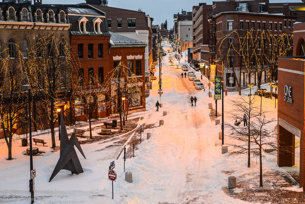 Snowy streets of Portland, Maine | Maine winter