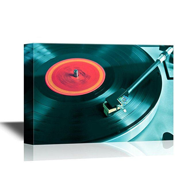 Wall26 Music Canvas Wall Art Vinyl Record Spinning On Turntable Close Up Gallery Wrap Modern Home Decor Ready Music Canvas Vinyl Wall Art Canvas Wall Art
