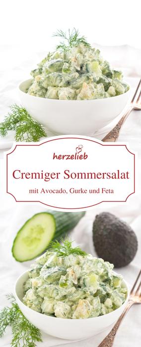 Sommersalat mit Gurke, Avocado, Feta und Dill – der besondere Salat #glutenfreierezepte