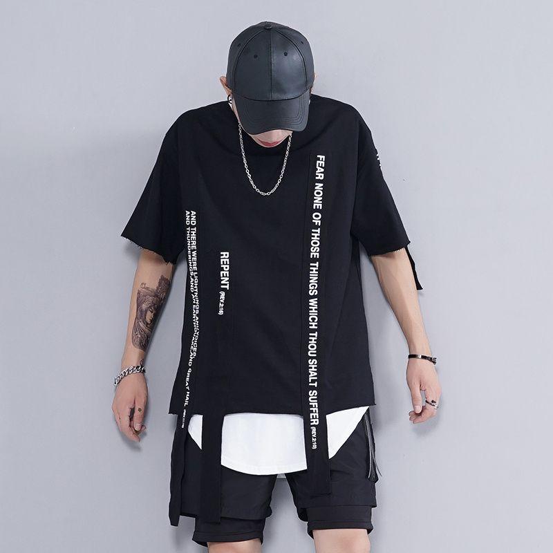 efecc56f422ae Atacado Varejo 2017 Novo Verão Moda homens Oversize Solta T Shirt Webbing  Fita Sólida Streetwear Hip