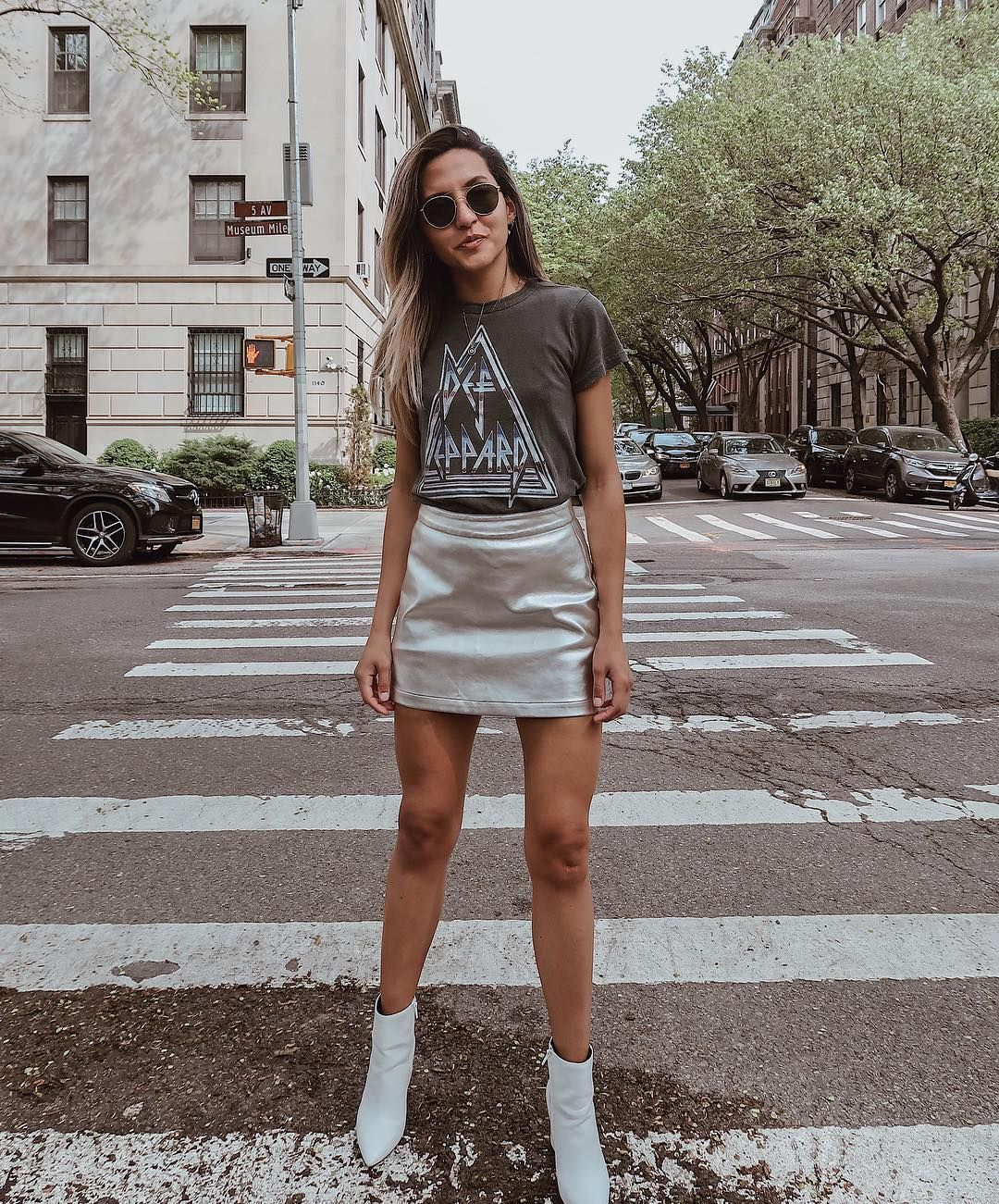 e0c3a6298c3a silver skirt and white boots outfit