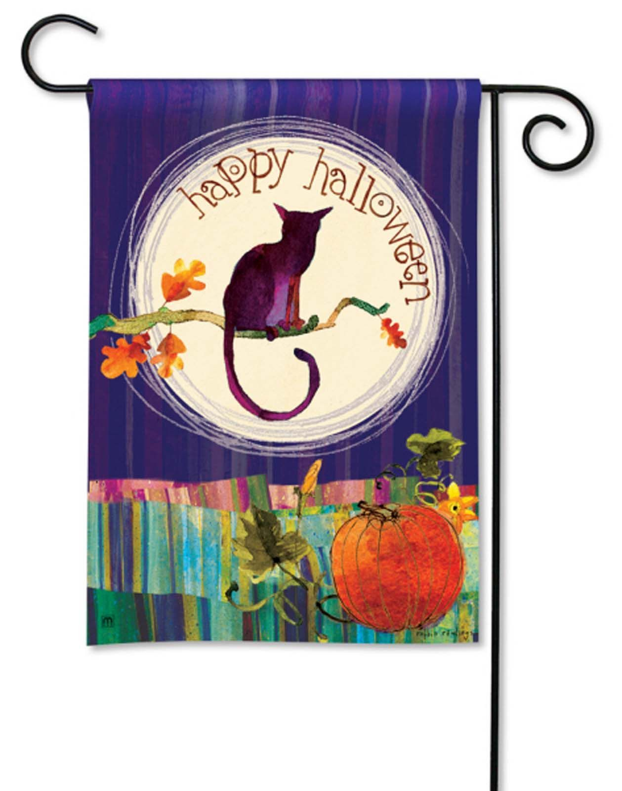 breezeart garden flag full moon halloween cat new | products