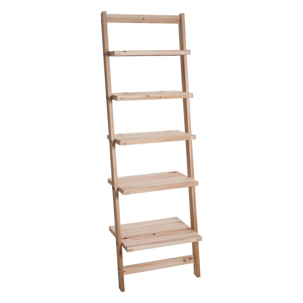 Lavish Home 5 Tier Natural Wooden Leaning Ladder Storage Shelf