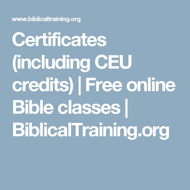 Certificates (including CEU credits) | Free online Bible classes