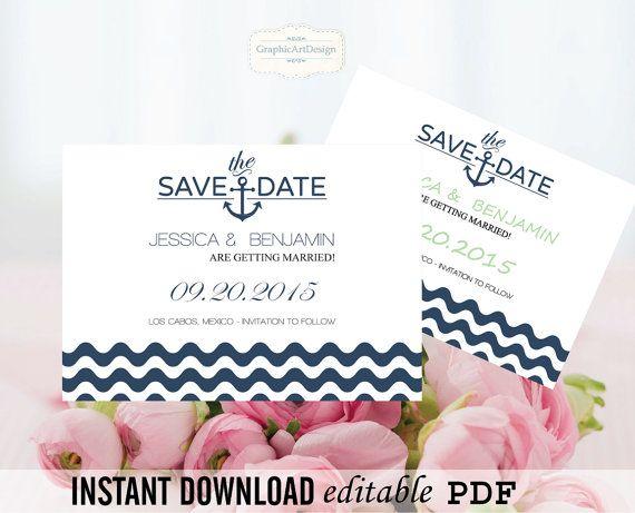 Nautical Wedding Save-the-Date Editable PDF by GraphicArtDesign