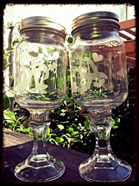 Back side of monogram glasses with hearts