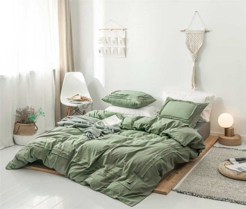 Army Green Duvet Cover Bordered Pure Green Comfortable 100 Etsy Sage Green Bedroom Green Bedroom Decor Green Comforter Bedroom