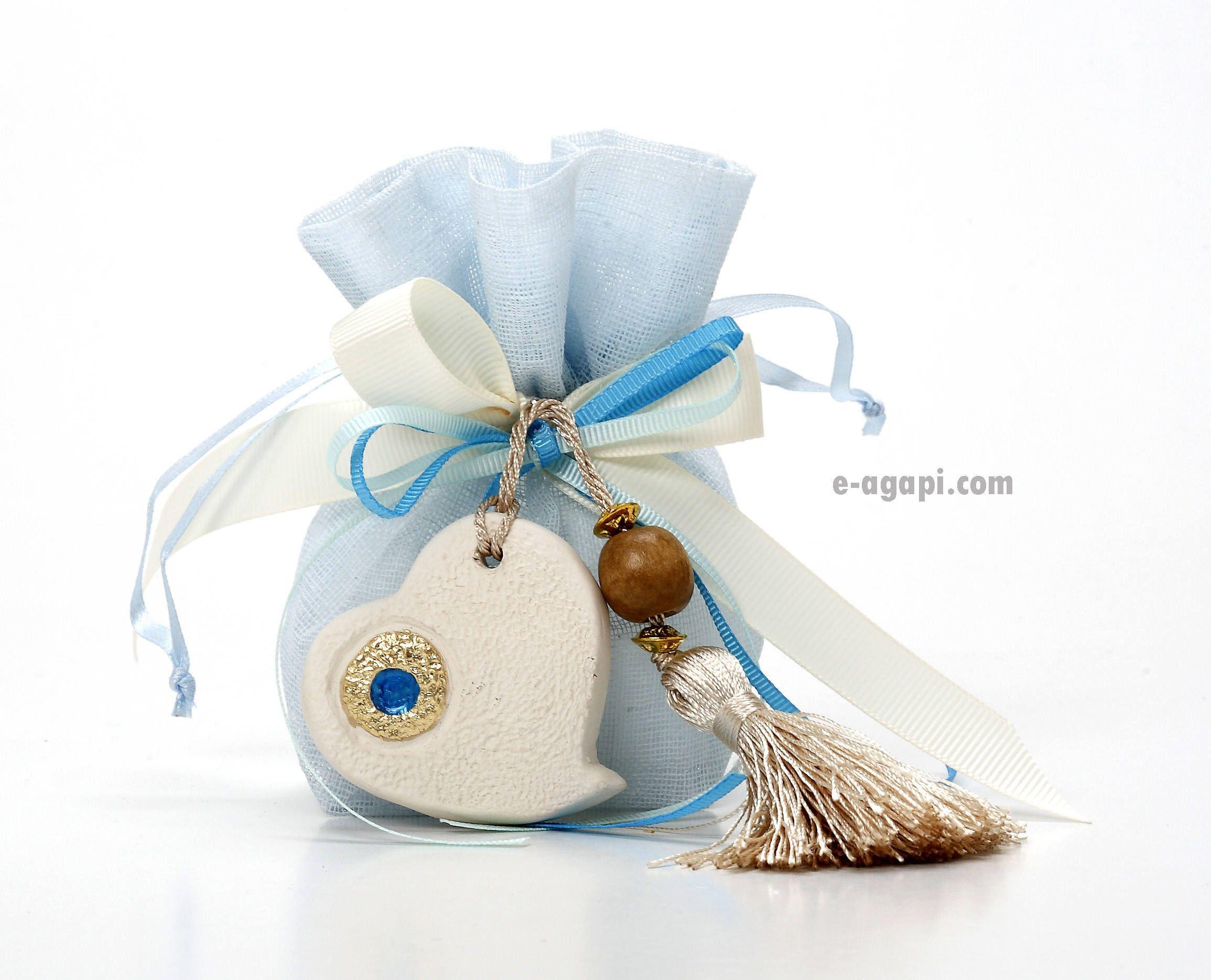 Evil eye favors Bag favors Boy baptism favors bags Ceramic mati ...