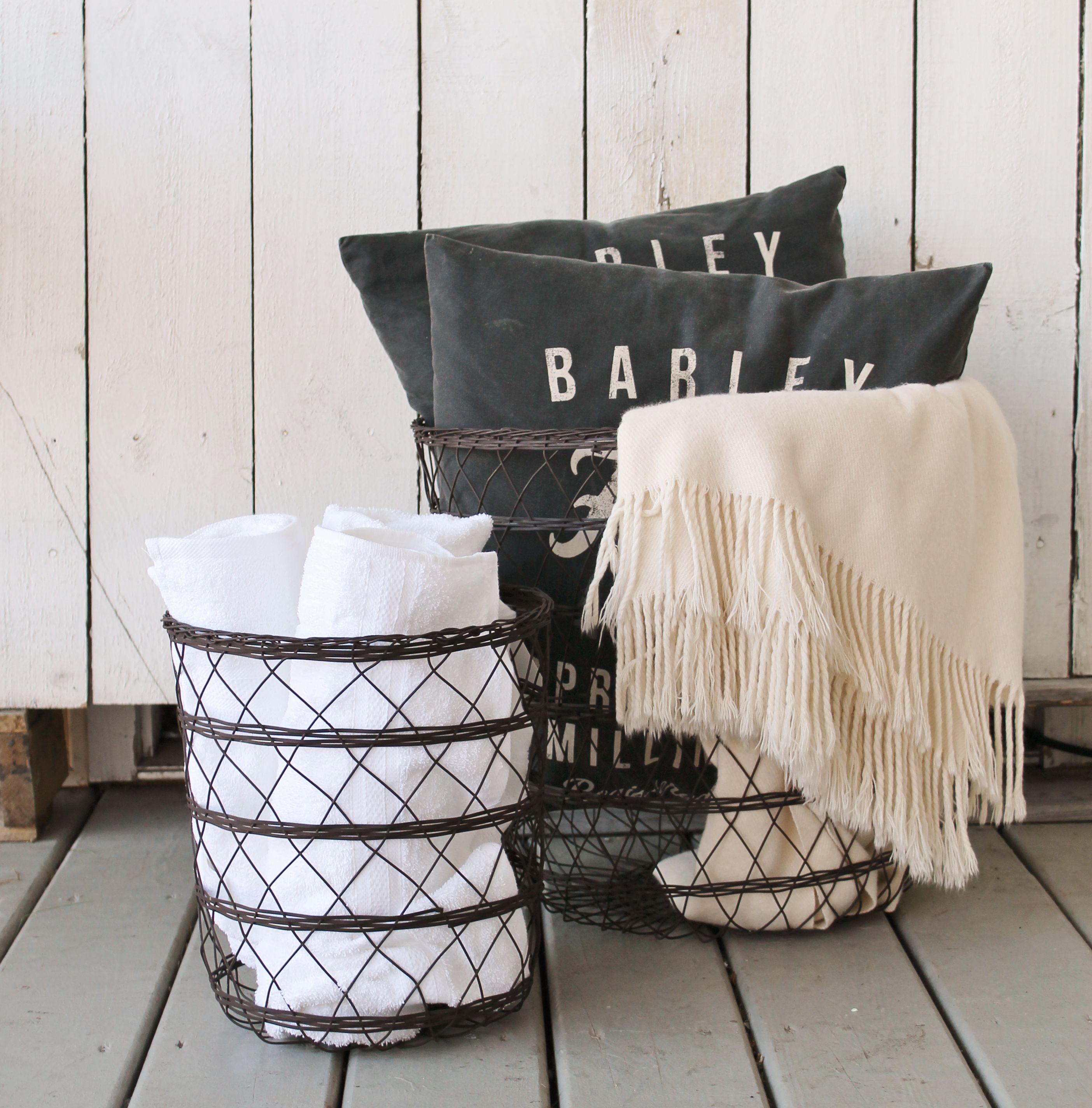 Black wire baskets toy organization living room wire