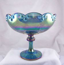 carnival glass footed compote | vintage blue carnival glass footed compote garland bowl indiana glass