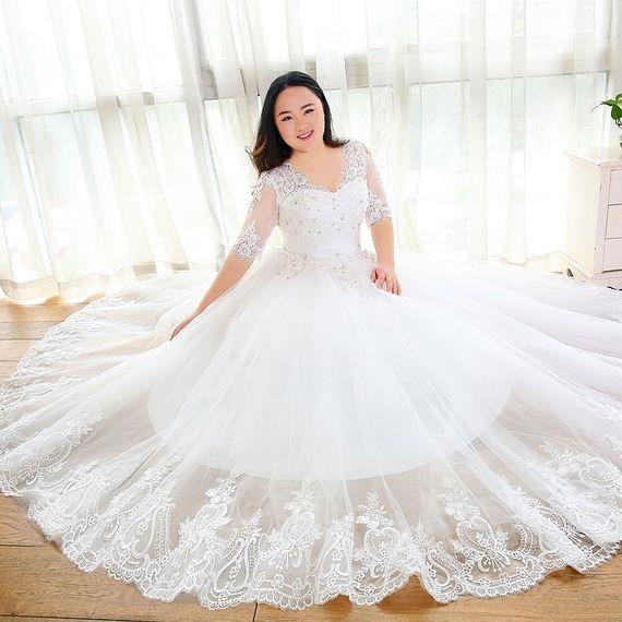 Large Size Wedding Dress Fat Mm Thin 2017 New Sleeves V Neck Heavy