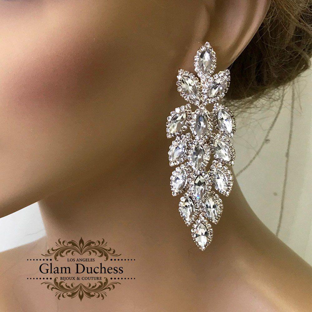Bridal Chandelier Earrings Prom Earrings Silver Rose Gold