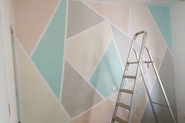 pintar paret geometrica color 04 El día que pinté mi oficina