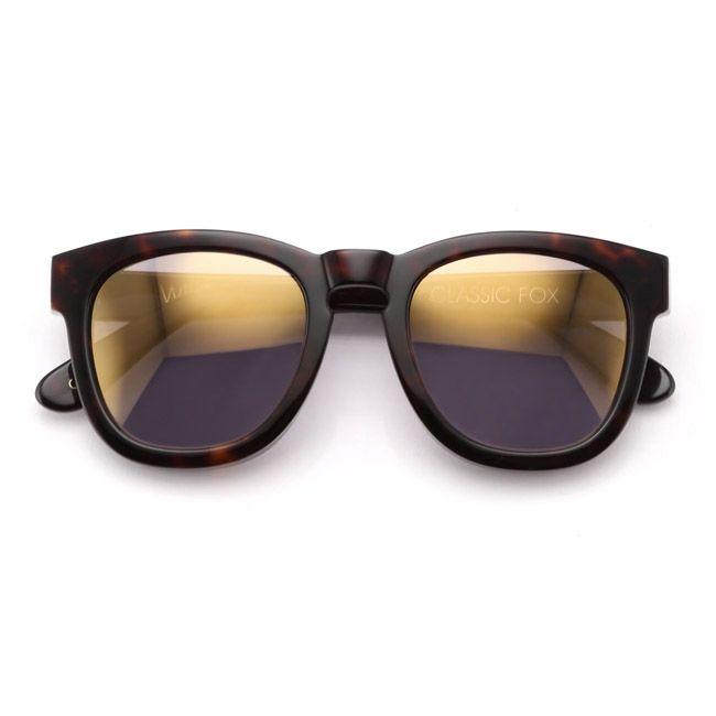 9c39a42125 Wildfox Sun Classic Fox Deluxe Sunglasses in Tortoise Gold Mirror ...
