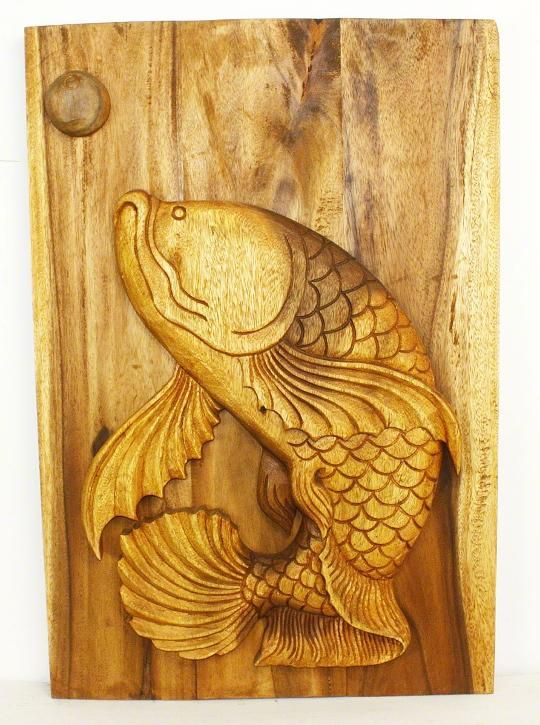 Fish wall decor hand carved wood panel #ThaiDecor | For the Home ...