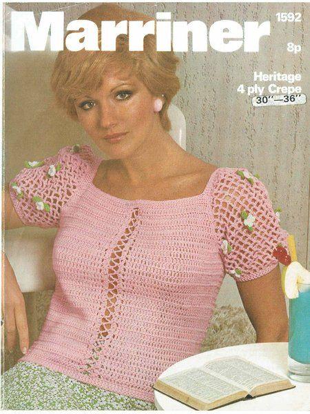 Marriner 1592 ladies summer top vintage crochet pattern | BLOUSES ...