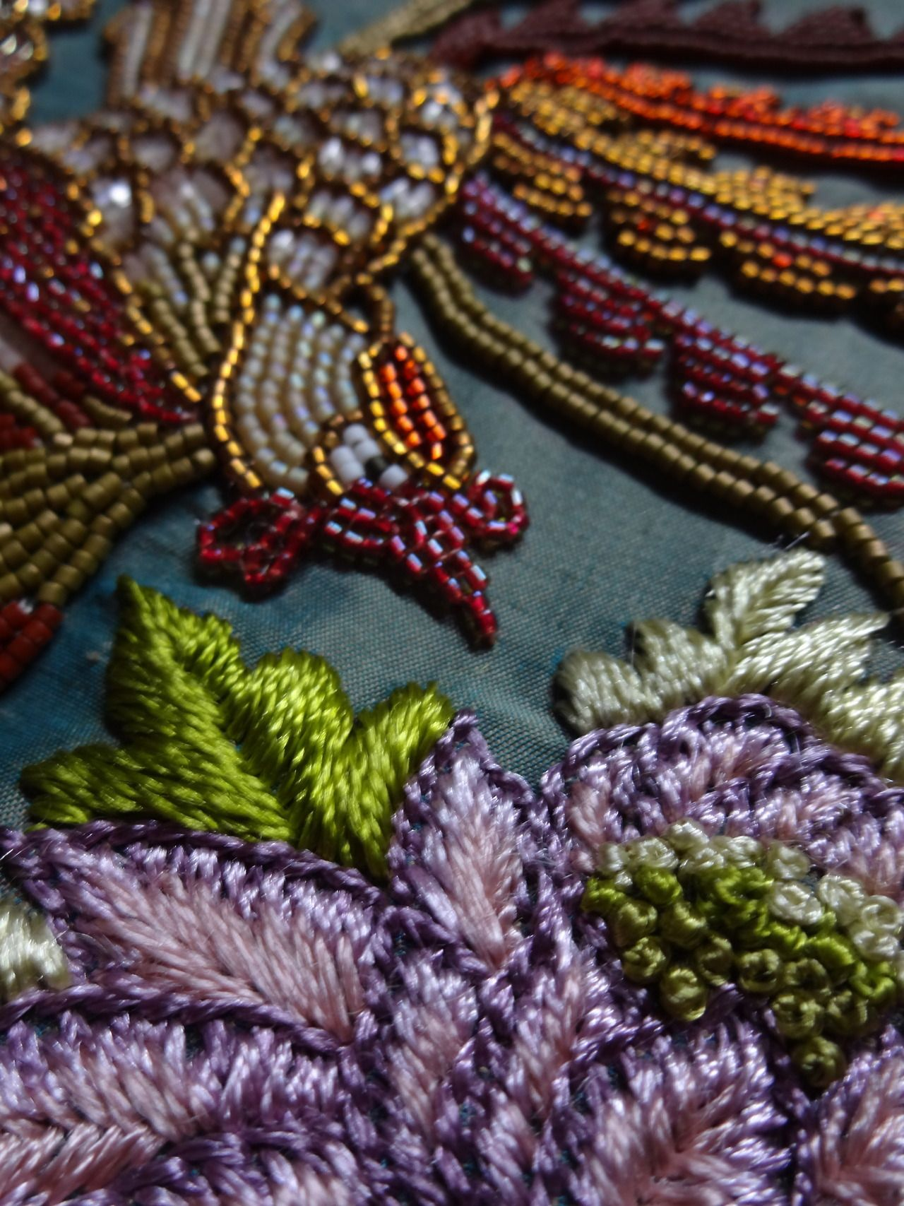 Detail from my new sculpture in progress. Beading and embroidery on silk inspired by Peranakan designs