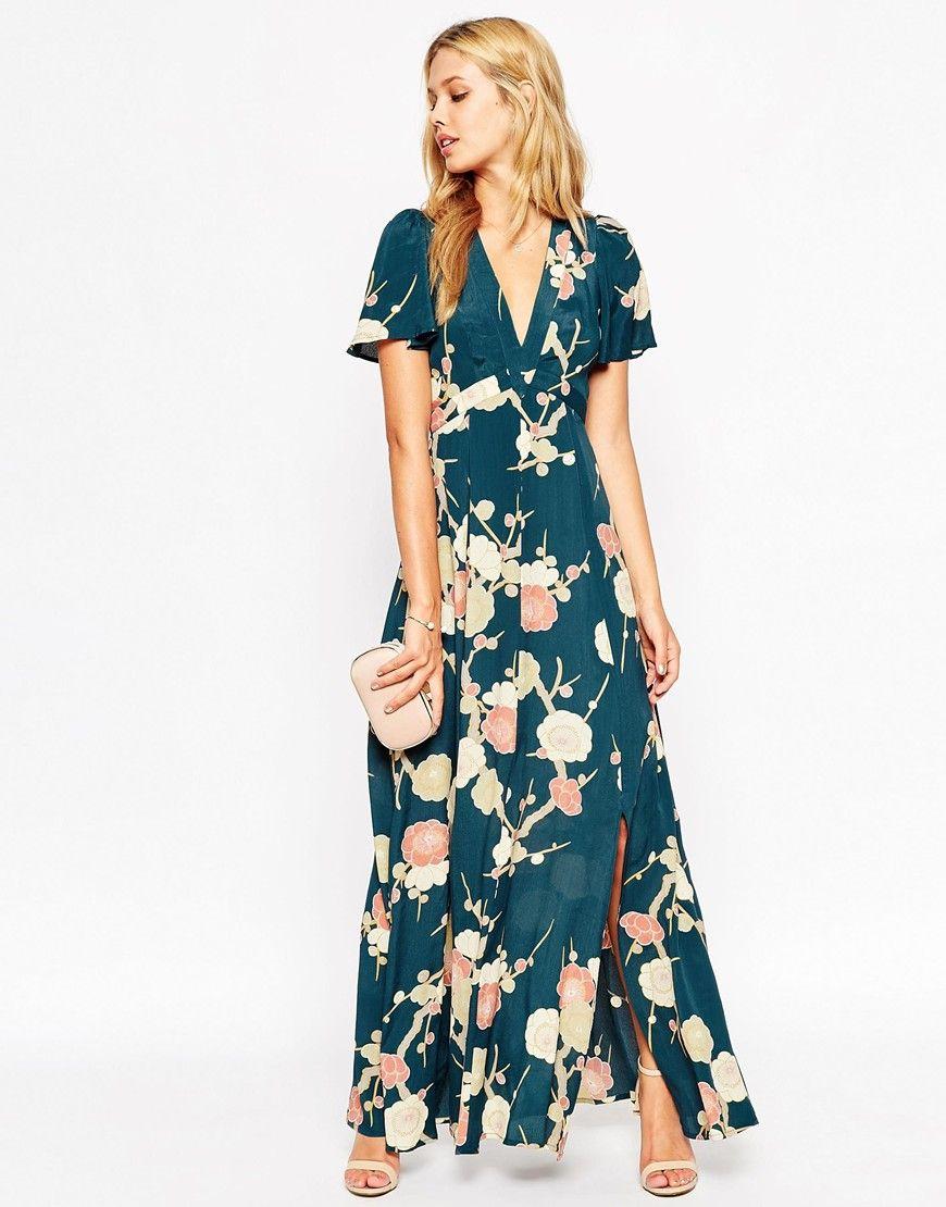Imagen 1 de vestido largo cruzado con estampado floral de asos imagen 1 de vestido largo cruzado con estampado floral de asos wedding ombrellifo Choice Image