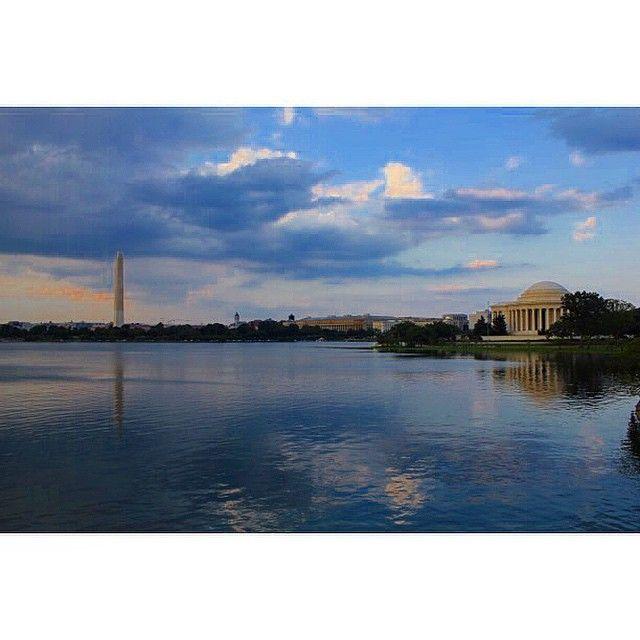 #washingtondc #washingtonmonument #jeffersonmemorial #nationalmall #travel #vacation #usa #water #clouds #reflection
