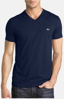 c207ebd7f9ad Men's Lacoste V-Neck T-Shirt - Soft 100% Cotton Fabric | :: STYLE MT ...