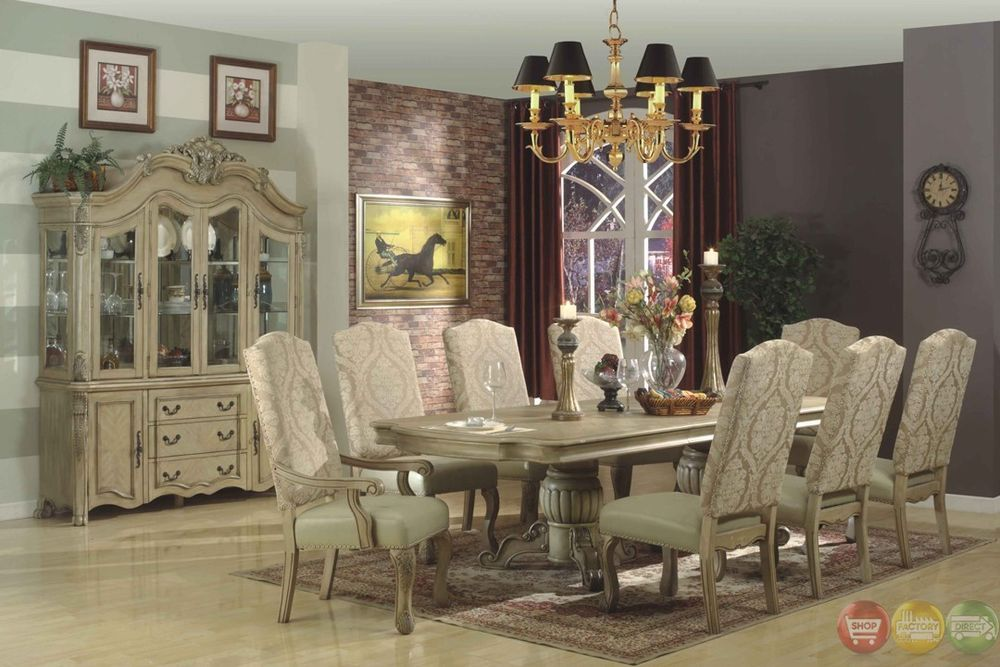 Traditional Antique Whitewash 9 Piece Formal Dining Set D8043