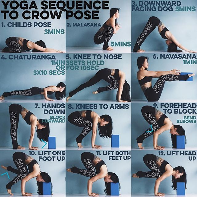 Yoga Sequence To Crow Pose When It Comes To Arm Balancing There Are 3 Factors To Overcome Strength Flexibility Fear Easy Yoga Workouts Yoga Sequences Yoga