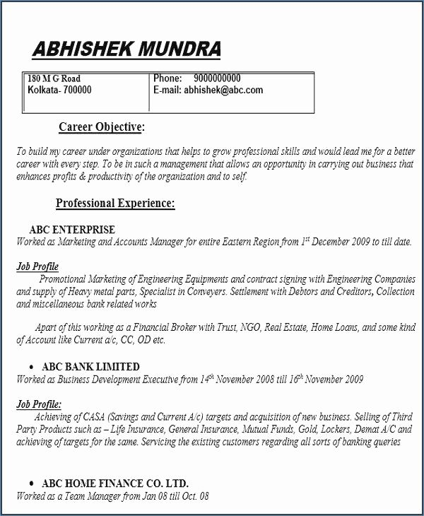 71 Best Of Collection Of Sample Resume For Warranty Manager Resume Objective Examples Job Resume Format Cv Format For Job