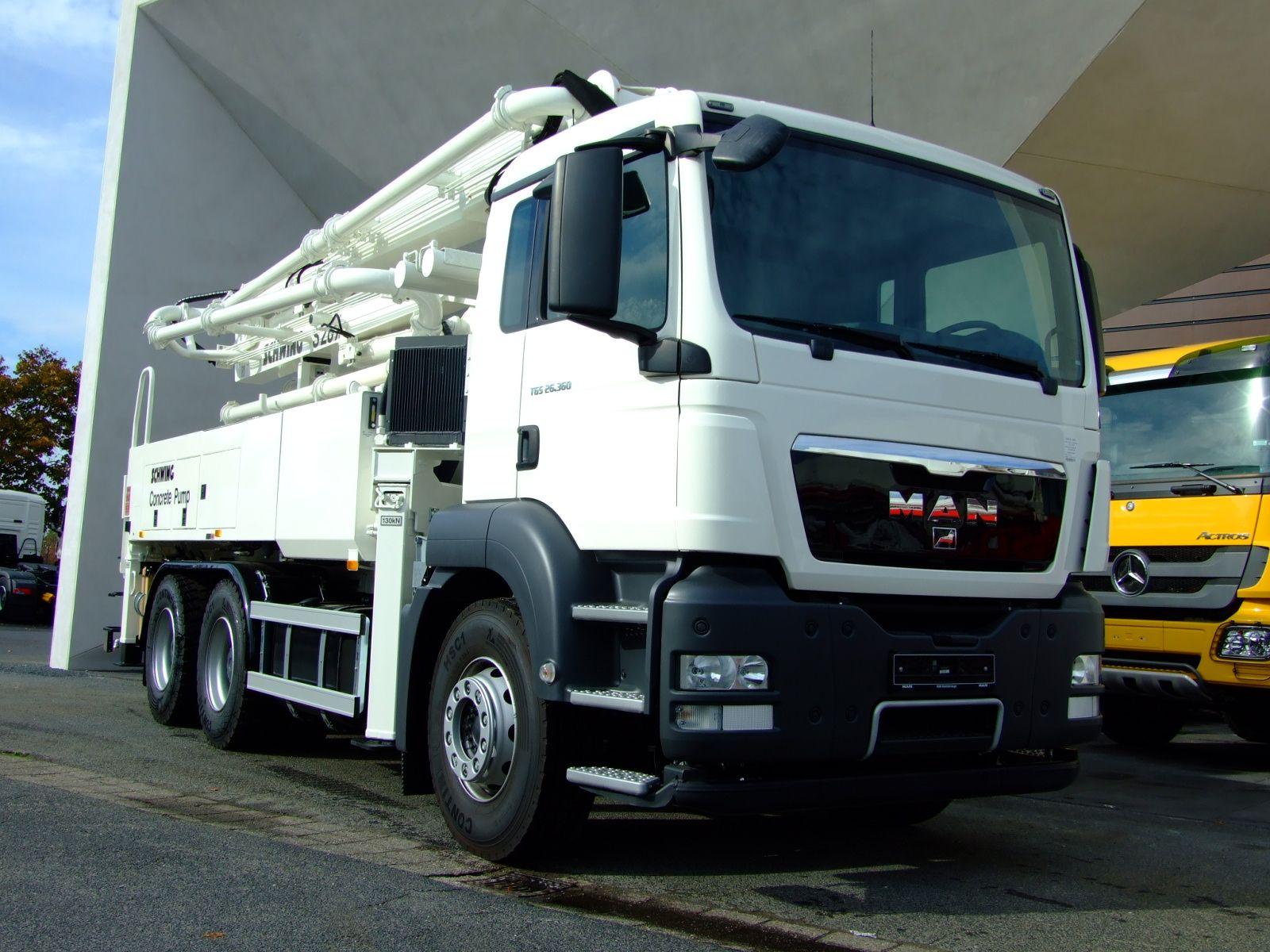 Man tgs 26 360 6x4 bb schwing s28x concrete pump truck over 7 5t concrete pump new vehicle 500 km diesel 265 kw 360 hp manual gearbox permissible gross