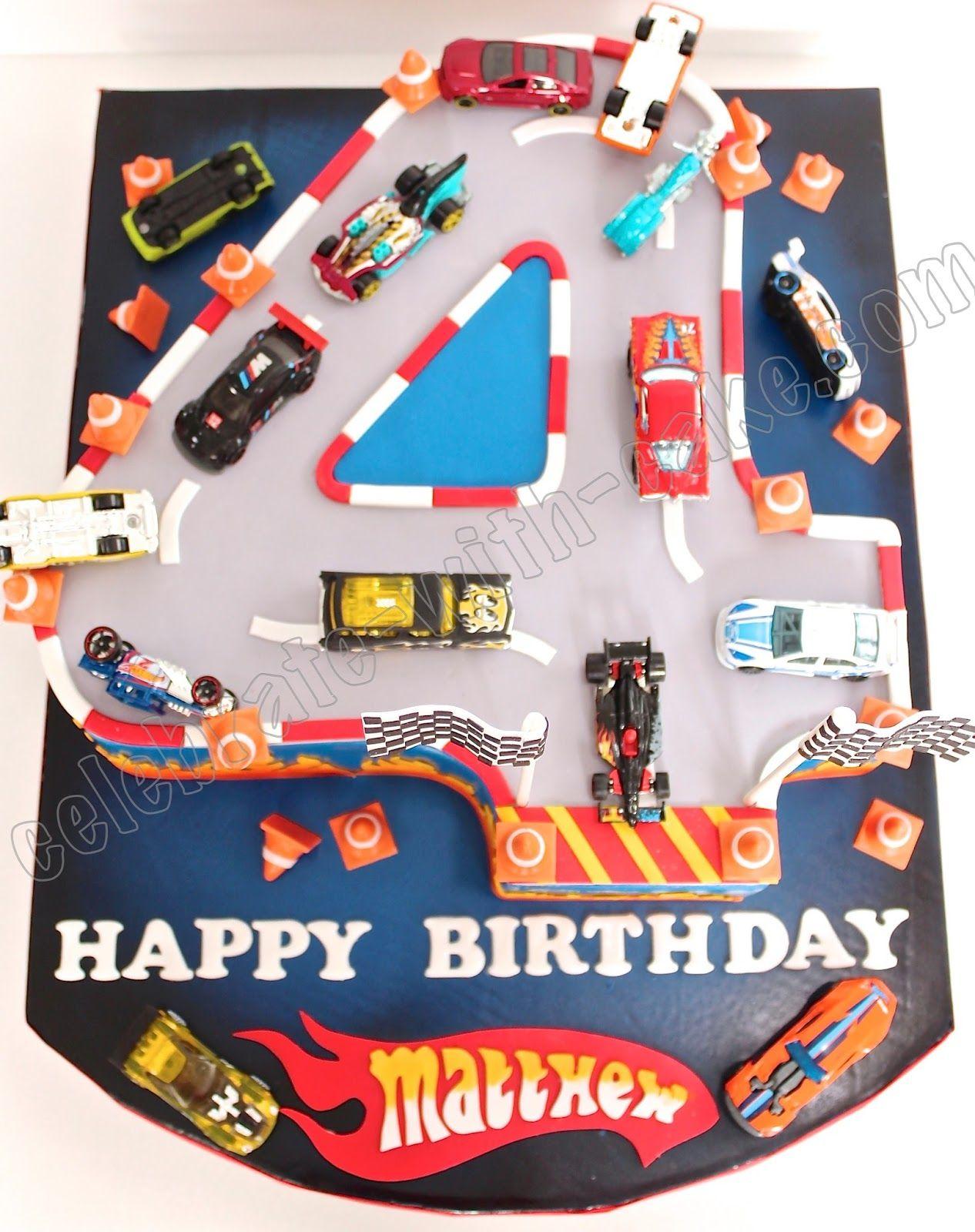 Sculpted Numeral Four Hotwheels Race Car Cake