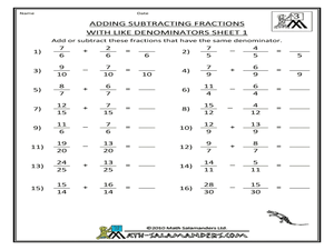 Adding Subtracting Fractions With Like Denominators Sheet   Adding Subtracting Fractions With Like Denominators Sheet  Worksheet