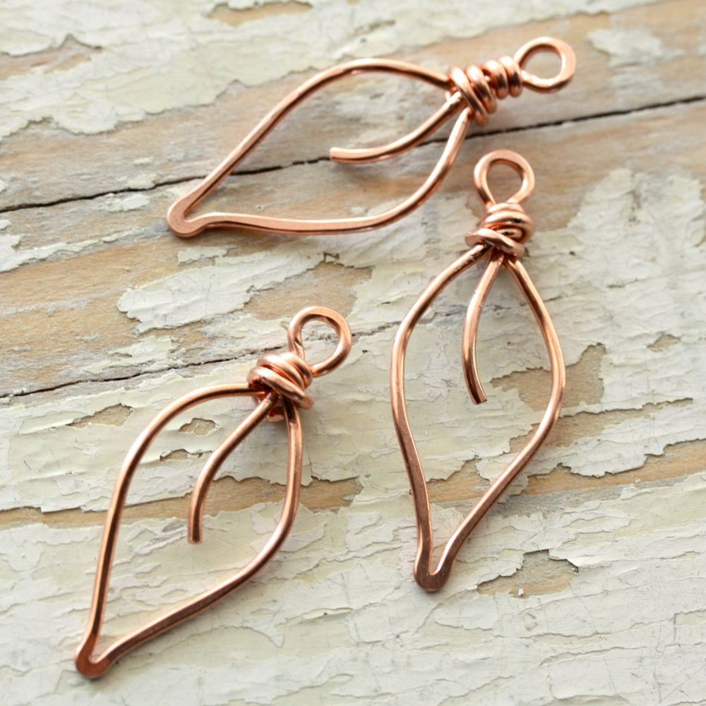 Leaves Solid Copper Wire, Small - Handmade Wirework Connector, Charm ...