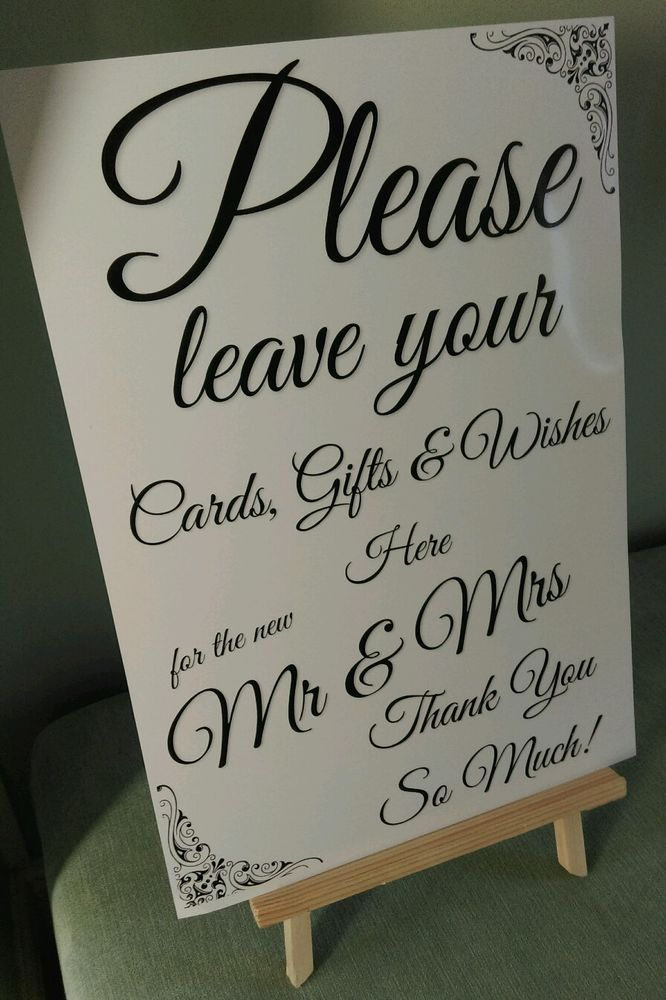 c8e76c4334b4d6 GIFT TABLE POST BOX WISHING WELL Wedding Sign A4