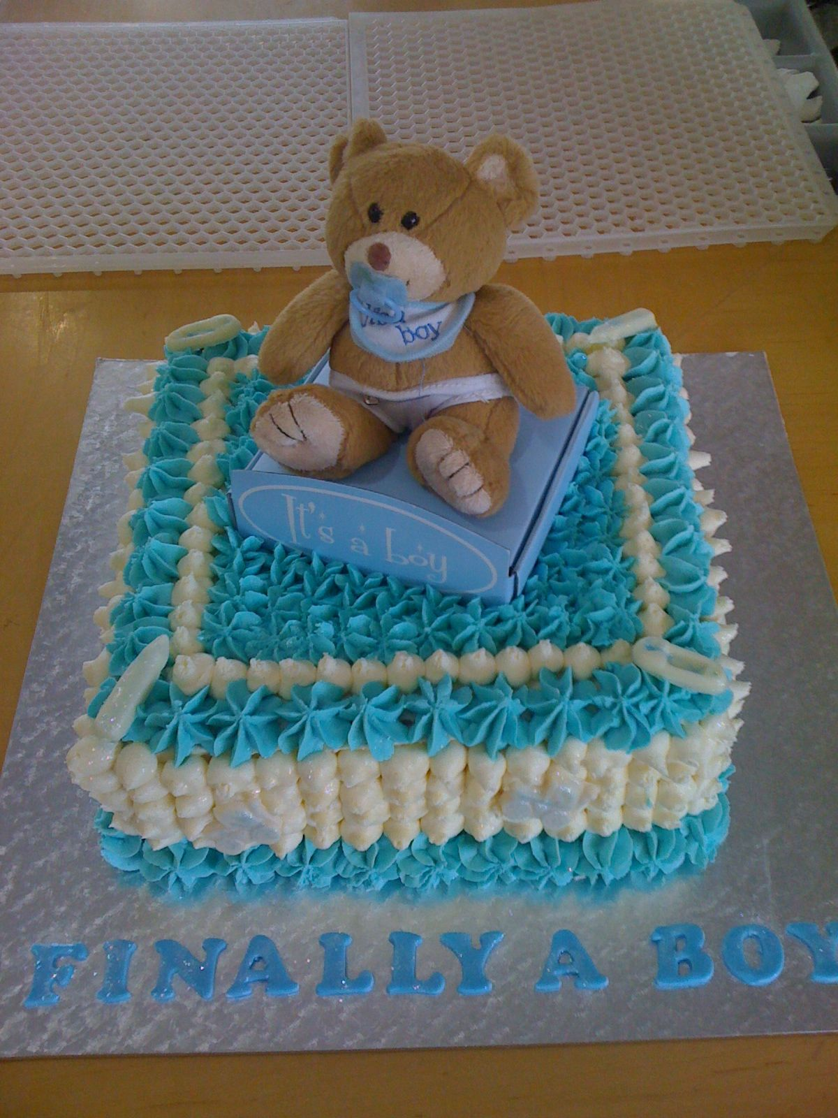Baby Shower Boy Teddy Bear Cake Cake Decorating Community