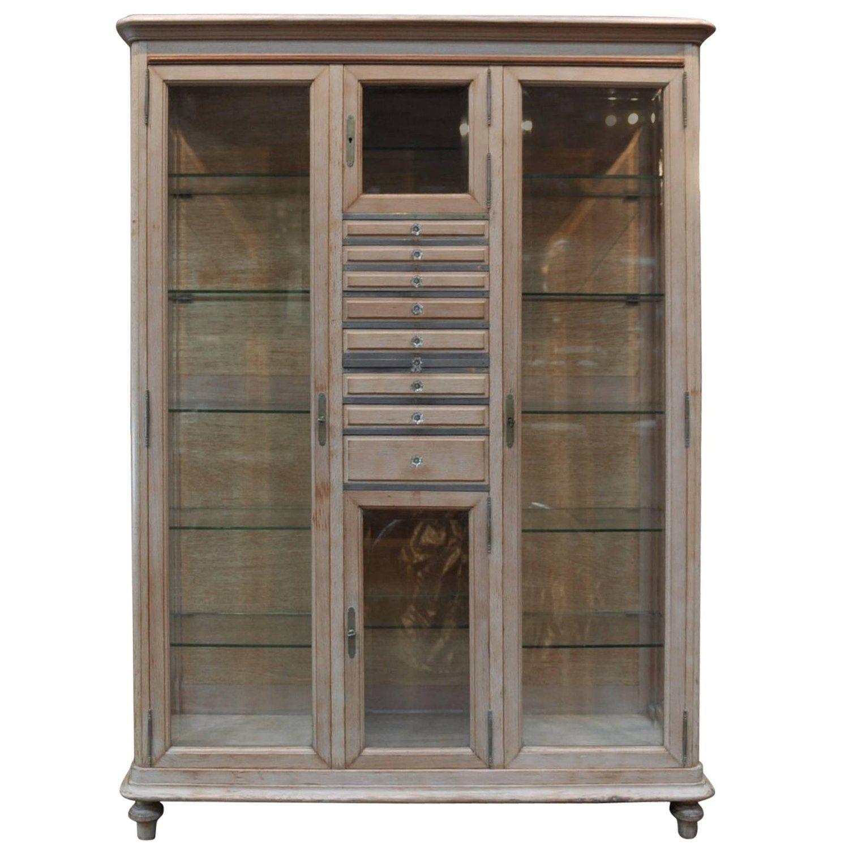Beveled Glass Dentiste Vitrine Bookcase Cabinet Beech wood 1920s