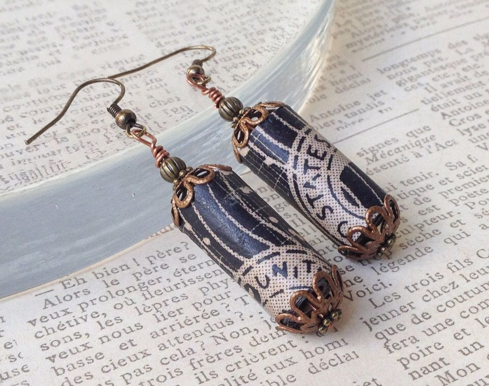 A personal favorite from my Etsy shop https://www.etsy.com/listing/178489727/vintage-style-earring-musical-note-paper