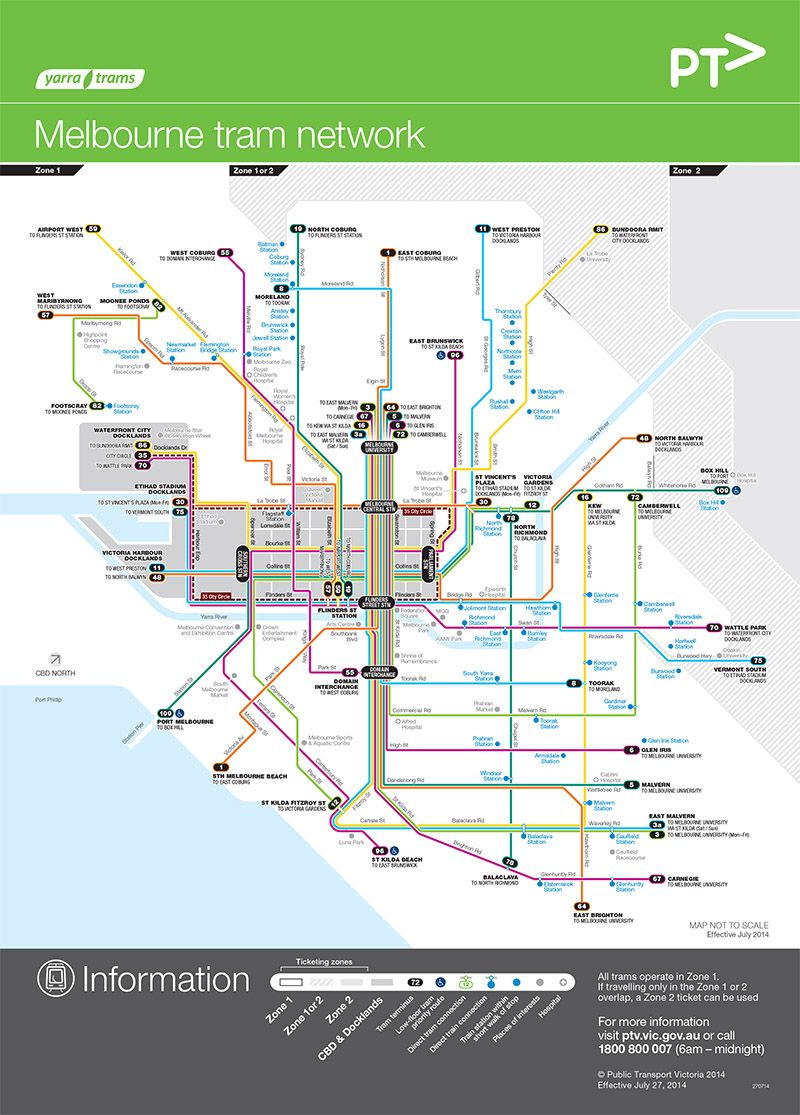 Tram Network Map Melbourne The city circle route is free M A P