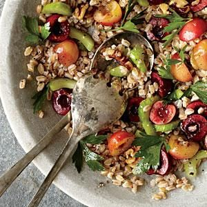 Farro is a quick-cooking grain with a mild flavor, perfect for a summer salad. Add juicy cherries, crunchy celery, and a mustardy dressing for the perfect accompaniment to grilled meat, poultry, or fish. If you can't find farro, you can substitute wheat berries, barley, or quinoa.