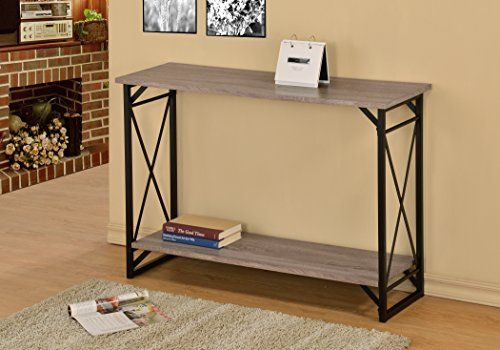 Weathered Sonoma Oak Finish 3Tier Metal XDesign Occasional Console Sofa Table Bookshelf To View