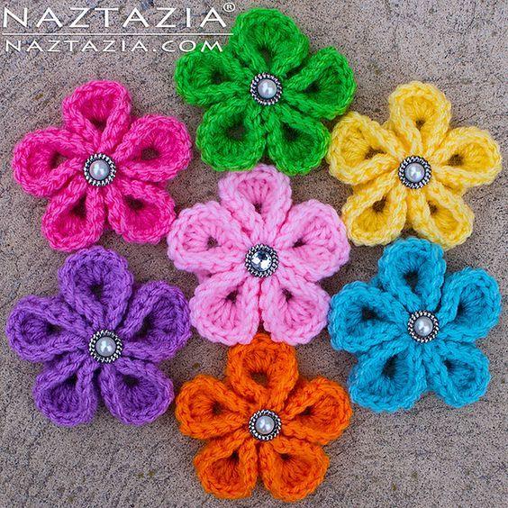 FREE CROCHET PATTERN Crochet Kanzashi Flower pattern by Naztazia ...