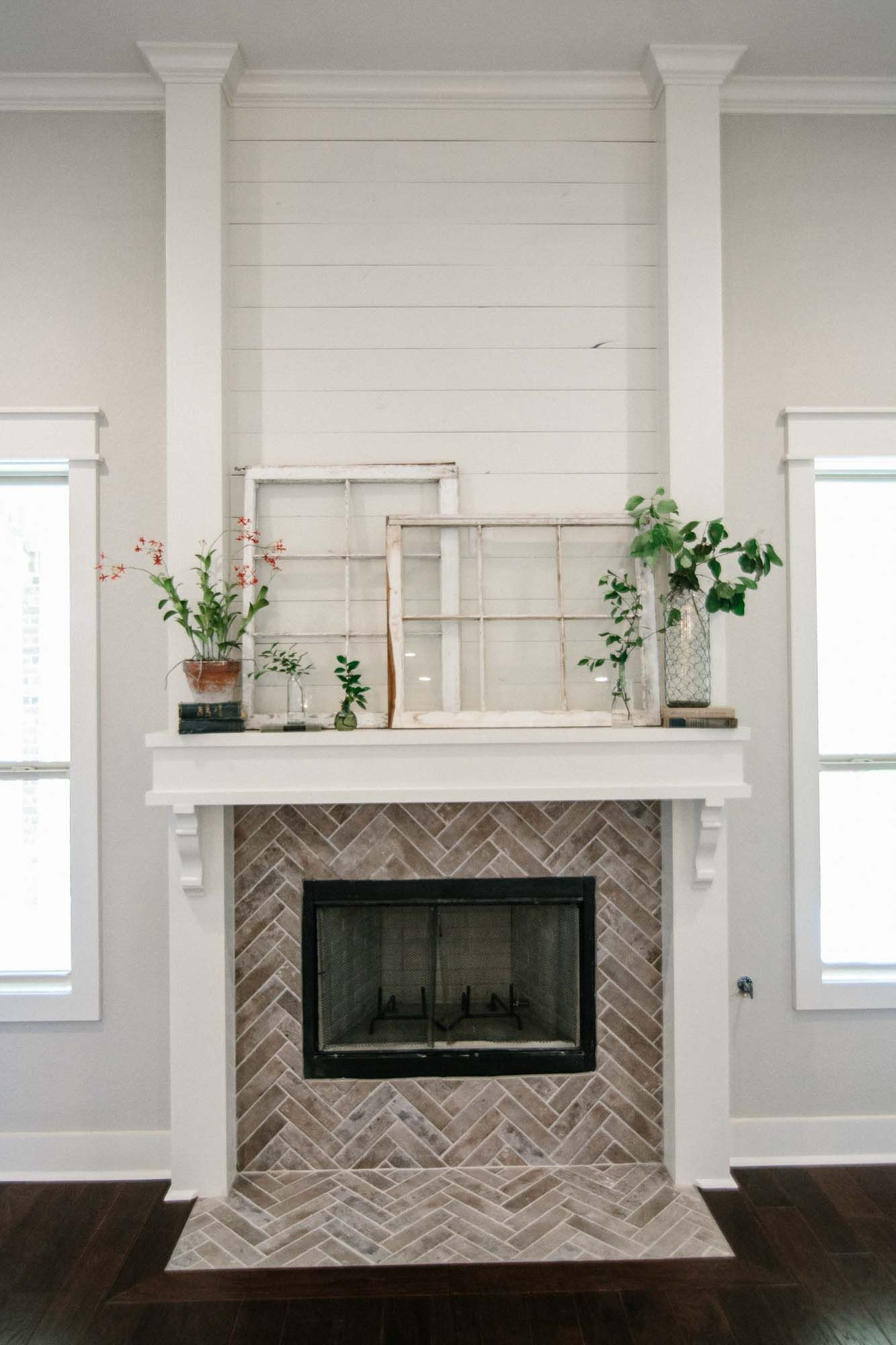 Fireplace Inspiration White Shiplap Herringbone Brick Brick Fireplace Makeover Brick Fireplace White Brick Fireplace