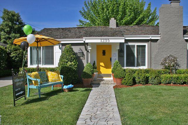 Yellow Front Door | Yellow front doors, Grey houses and Front doors