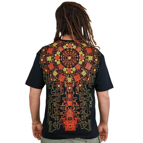 c8817d2ba2d64 COSMOCIRCUIT psytrance t-shirt for man, geometric shapes, orange, calendar  maïa, psychedelic design, futuristic, chip circuit, Handmade Materials  t  shirt, ...