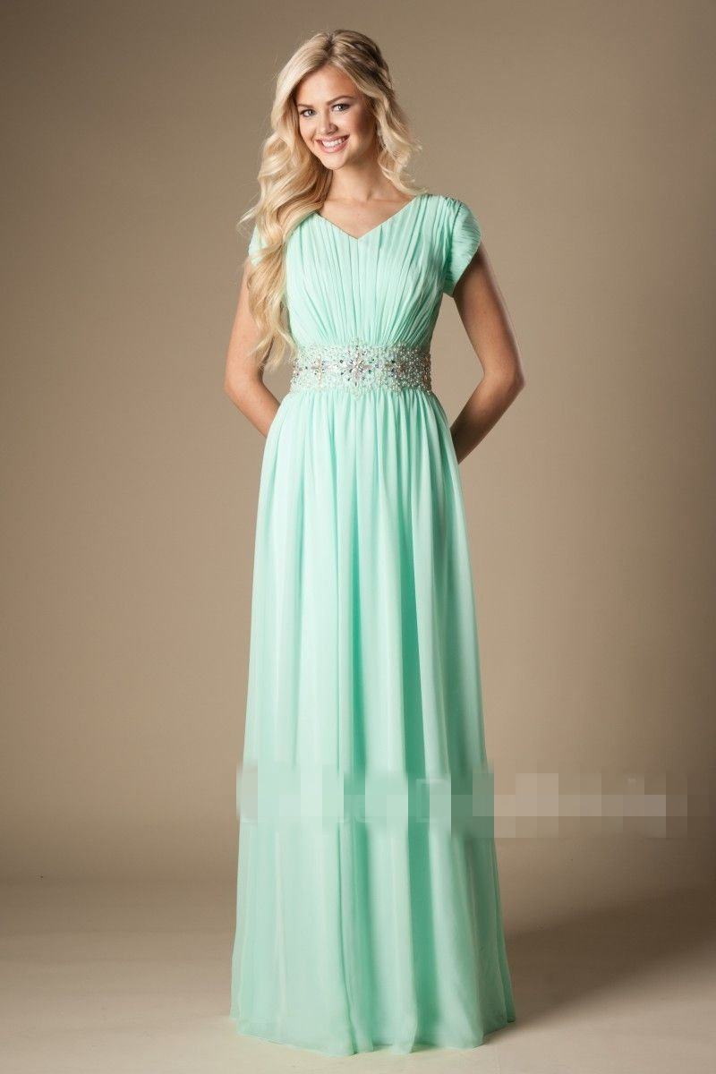 Mint green long modest bridesmaid dresses with cap sleeves beaded mint green long modest bridesmaid dresses with cap sleeves beaded crystals belt ruched bling bridesmaid gowns ombrellifo Images