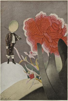 """Hannah Höch, Watched, 1925. Cut-and-pasted printed paper on printed paper, 101/8 x 63/4"""" (25.7 x 17.1cm)."""