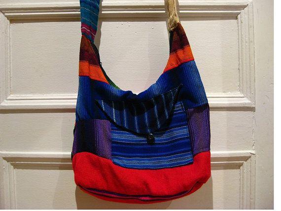 80s multicolor hippie purse / cross body bag / boho by EcoCentrik