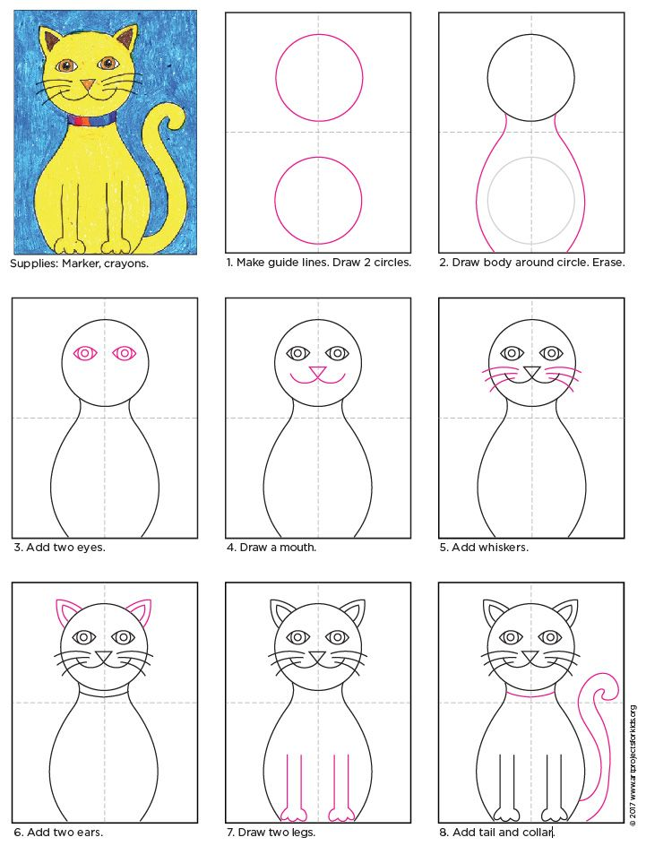 Draw A Cat With Wings Art Projects For Kids Simple Cat Drawing Kids Art Projects Drawing For Kids