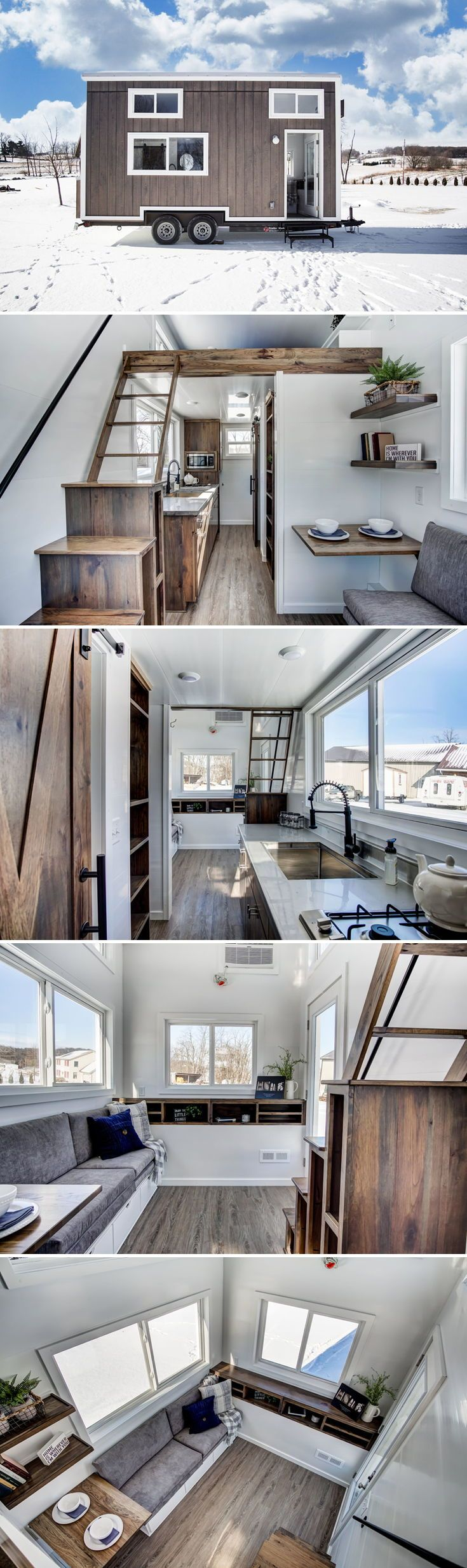 Built by Modern Tiny Living as a vacation rental for Try It Tiny, the Cocoa is another 20-foot tiny home based on the popular Mohican model. The Cocoa features gorgeous wood finishes, stainless steel countertops, modern black hardware, and tons of storage.