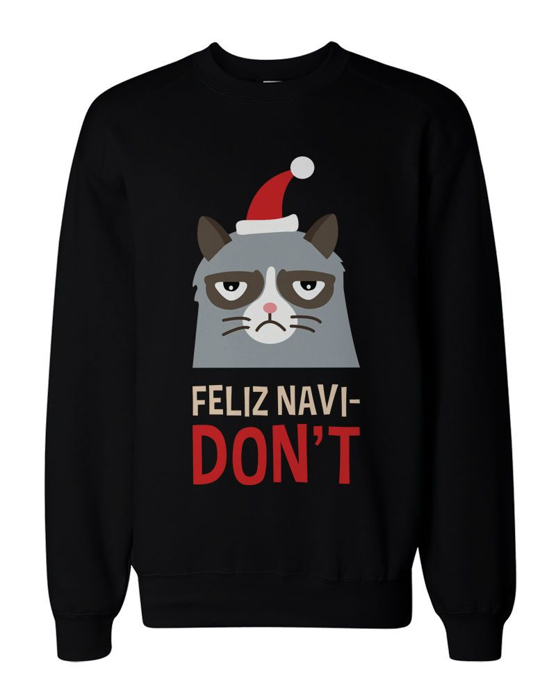 Funny Grumpy Cat Holiday Graphic Sweatshirts - Unisex Black ...
