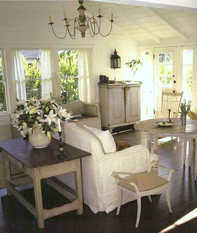 Cape Cod Cottage Style White Beachy Living Room Cathedral Cielings Dark Wood Floors Shabby Chic Distressed Furniture