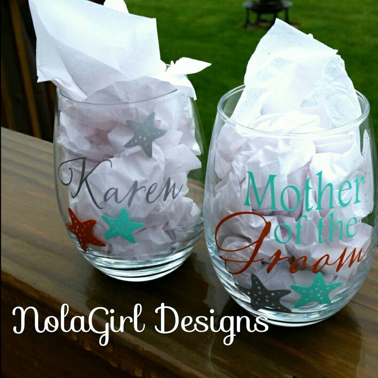 Beach wedding mother of the bride  Beach Wedding Wine glass Bridal party mother of the Bride Mother
